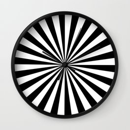 Black and White Rays Wall Clock