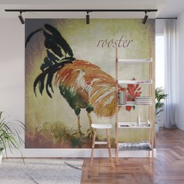Rooster Watercolor Art by CheyAnne Sexton Wall Mural