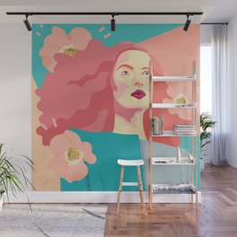 Spring model with flower motives and bold color with marble effect background Wall Mural