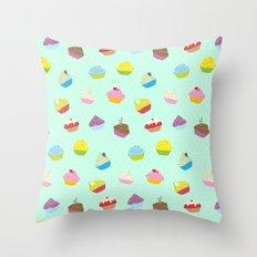 Cupcakes - mint Throw Pillow