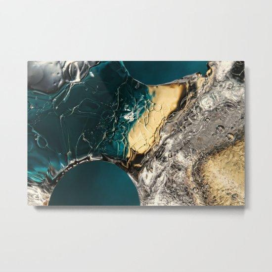 Ice Blue & Gold Metal Print
