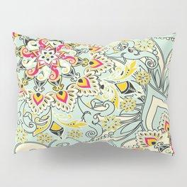 Robin's egg blue floral mandala Pillow Sham