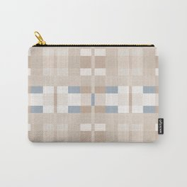Beige and Blue Color Blocks Geometric Pattern Carry-All Pouch