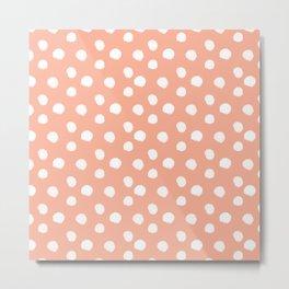 Brushy Dots Pattern - Orange Metal Print