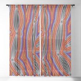 Authentic Aboriginal Art - Neurum Creek Bush Tracks Sheer Curtain