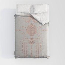 Mandala Flower of Life Moon Pink Rose Gold IV Comforters