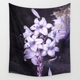 The White Lily w/ Variegated-leaves Lavender Temple of Flora Wall Tapestry