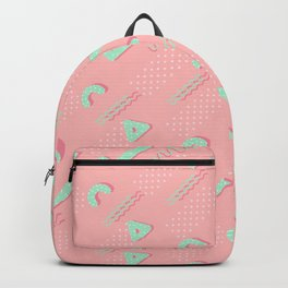 Abstract blush coral turquoise geometric 80's pattern Backpack