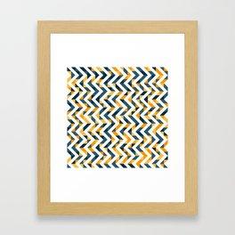 Chevron Oranges and Ink - Geometric Pattern Framed Art Print