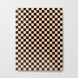 Black and Deep Peach Orange Checkerboard Metal Print