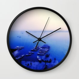 Dreamy blue shores of the Ganges River Wall Clock