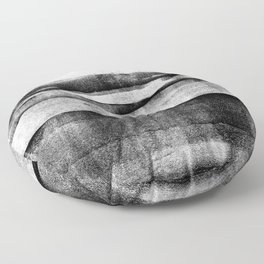 Black and Grey Layered Abstract Monotype Floor Pillow