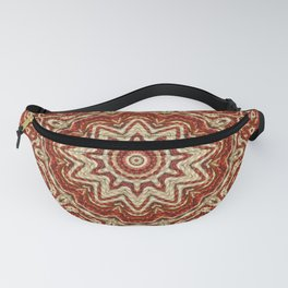 Brown - White - 3D Beige Cotton Pattern Fanny Pack