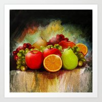 fruits Art Prints featuring fruits by ErsanYagiz