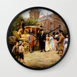 George Washington Arriving At Christ Church Wall Clock