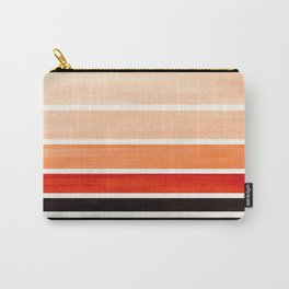 Brown Minimalist Watercolor Mid Century Staggered Stripes Rothko Color Block Geometric Art Carry-All Pouch