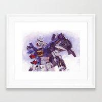 gundam Framed Art Prints featuring Gundam GP01 by Hector Trunnec