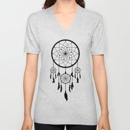 Black Dream Catcher - Native American Indian Art Unisex V-Neck