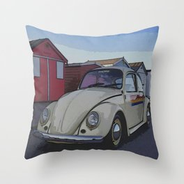 Southend on Sea Beach Huts Homage Throw Pillow