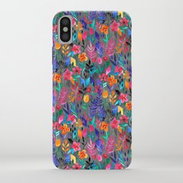 Popping Color Painted Floral on Grey iPhone Case
