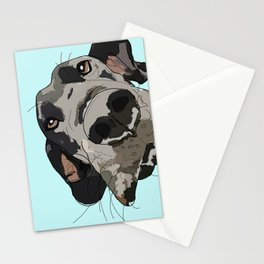 Great Dane in your face (teal) Stationery Cards