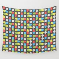 pills Wall Tapestries featuring Pills and capsules by Petits Pixels