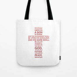 Unto Us - Cross Scripture RED Tote Bag
