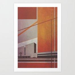 Orange Abstract Building Art Print