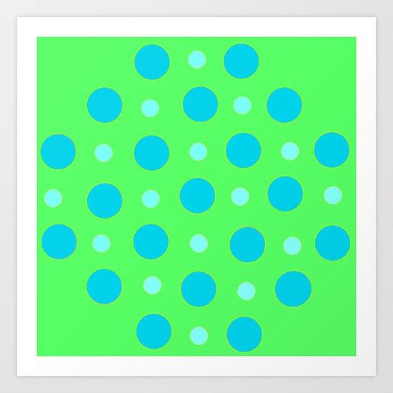 Blue and Green Dizzy Dots Art Print