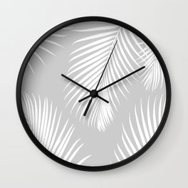 Gray Tropical Pattern Wall Clock