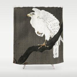 White Eagle on a tree - Vintage Japanese Woodblock Print Shower Curtain