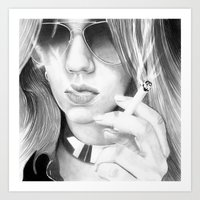 alisa burke Art Prints featuring Alisa smoking by donotseemeart