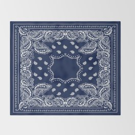 Bandana - Navy Blue - Boho Throw Blanket