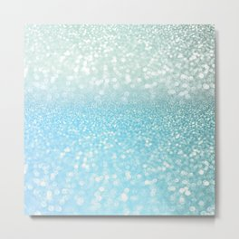 Mermaid Sea Foam Ocean Ombre Glitter Metal Print