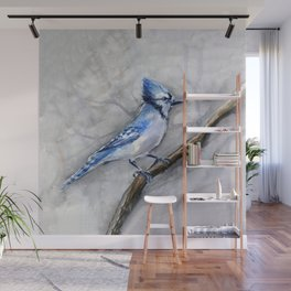 Blue Jay Watercolor Bird Wall Mural