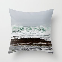 Green Wave Breaking Throw Pillow