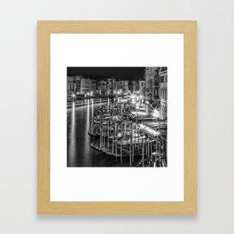 VENICE View from Rialto Bridge   Monochrome Framed Art Print