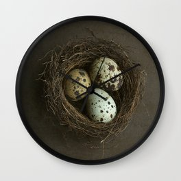 Speckled Eggs and Nest Wall Clock