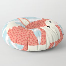Cute fox illustration with stripes blue white and orange Floor Pillow