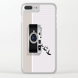 vintage camera and birds Clear iPhone Case