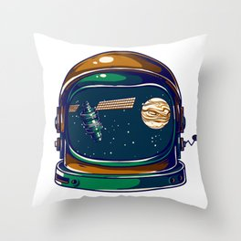 Astronaut Helmet - Satellite and the Moon Throw Pillow