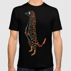 Abstract Meerkat X-LARGE Black Mens Fitted Tee