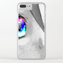 Anime Girl Eyes 2 Black And White Blue Eyes 2 Clear iPhone Case
