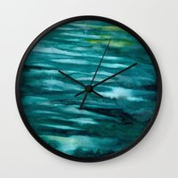 turquoise Wall Clocks featuring Turquoise  by Mich Li