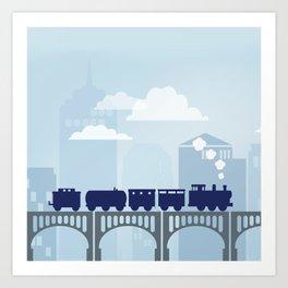 Train blue Art Print