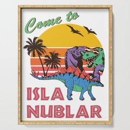 Come to Isla Nublar Funny Dinosaur T Rex Humor Holiday Serving Tray