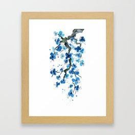 Blue Japanese Blossoms Framed Art Print