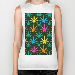 Colorful Marijuana weed Biker Tank