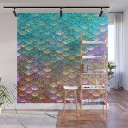 Aqua and Gold Mermaid Scales Wall Mural