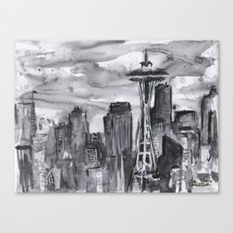 Seattle Skyline Watercolor Space Needle Washington PNW Canvas Print